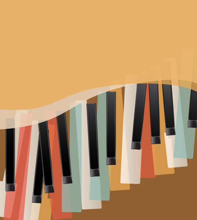 keyboard keys: piano keys retro orange background with space for text Illustration