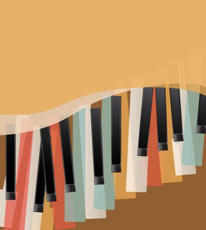 partition musique: touches de piano r�tro fond orange avec espace pour le texte