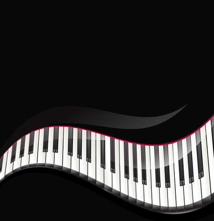 clavier: grand piano keys wavy background Illustration