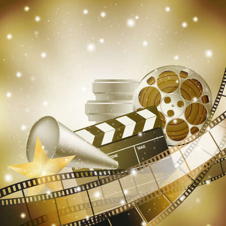 photo film: cinema background with retro filmstrip, clapper and stars Illustration