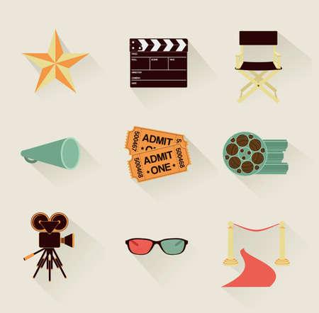 set of detailed retro flat cinema icons