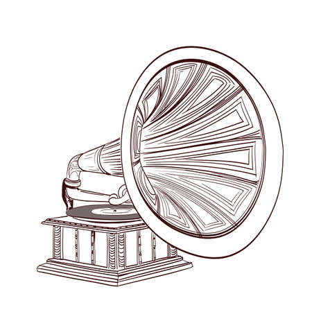 stylize: hand drawn gramophone on white