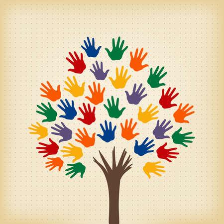 árbol abstracto con las manos abiertas como hojas