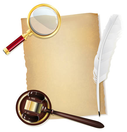 feather pen, old papirus, gavel and magnifying glass as justice background Illustration