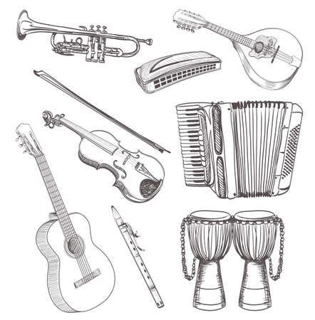 tambourine: folk musical instruments drawing set