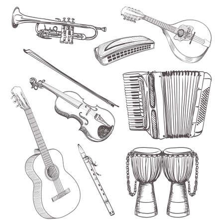 folk muziek instrumenten teken set