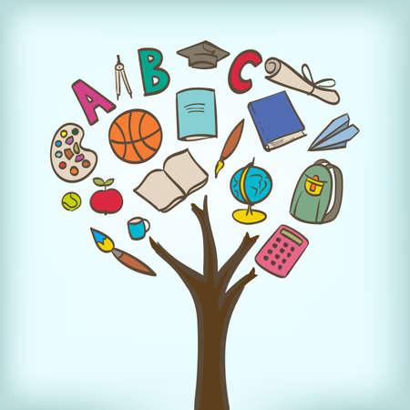 abstracte boom met de school gebruiksvoorwerpen zoals bladeren