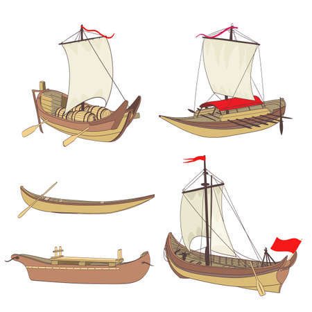 ancient ships: set of ancient ships drawing Illustration