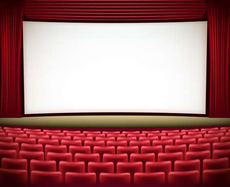 seats: cinema theater background with red seats and red curtains