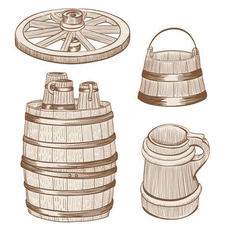 wheel barrel: old wooden mugs, bucket, cart wheel, barrel drawing