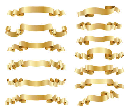 set van gouden linten op wit Stock Illustratie