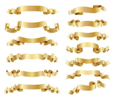 set of golden ribbons on white