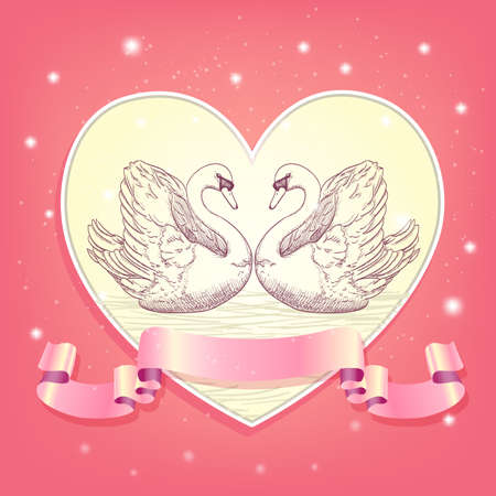 enamoured: heart background with hearted swans and ribbon