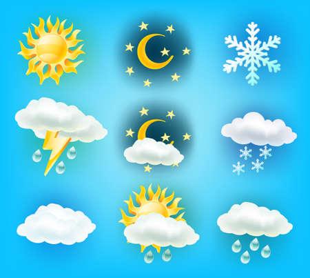 weather symbols: weather symbols on light blue background