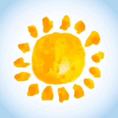childish watercolor painting of bold sun on blue sky background Illustration