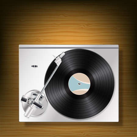 soundtrack: vinyl record turntable on woooden background