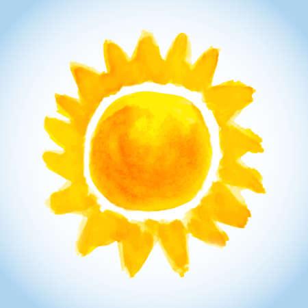 morning sunrise: childish watercolor sun on blue sky background Illustration