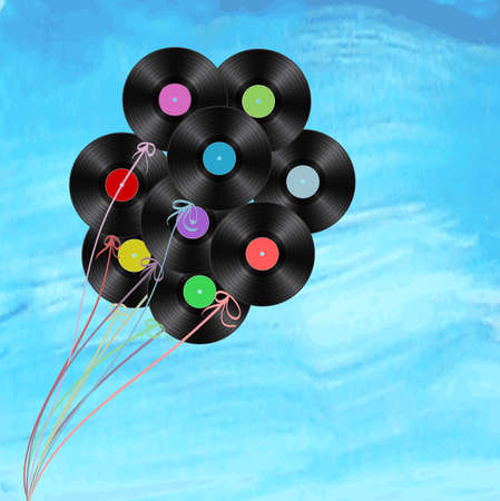 disks: vinyl disks as balloons on watercolor background