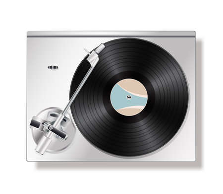 turntables: vinyl record turntable on white