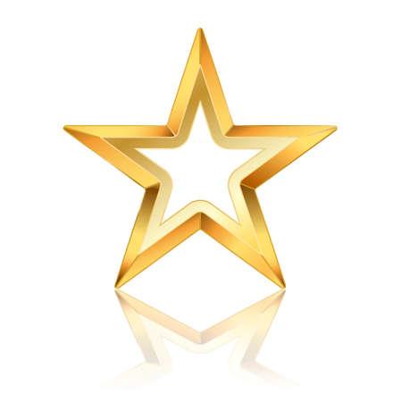 five star: vector golden star frame on white Illustration
