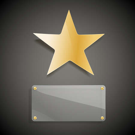 5 door: golden star and glass blank background Illustration