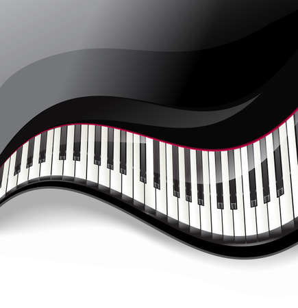 grand piano keys wavy on white background