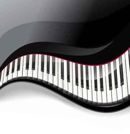 teclas de piano de cola ondulado sobre fondo blanco