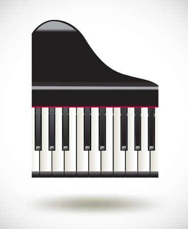 fortepian: Wielki klawisze fortepianu ikony na białym Ilustracja