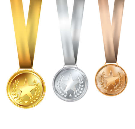 silver medal: set of medals with stars Illustration