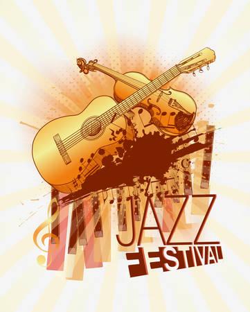 chiave di violino: Festival di musica jazz con violino e chitarra modello sfondo Vettoriali
