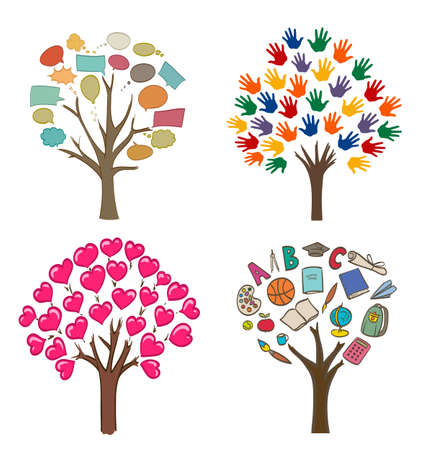 call outs: set of conceptual drawings with trees, love, message, school and open hands variations Illustration