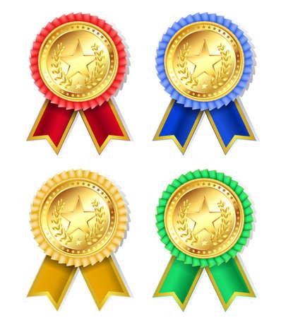 award ceremony: set of retro golden award with stars and ribbons Illustration