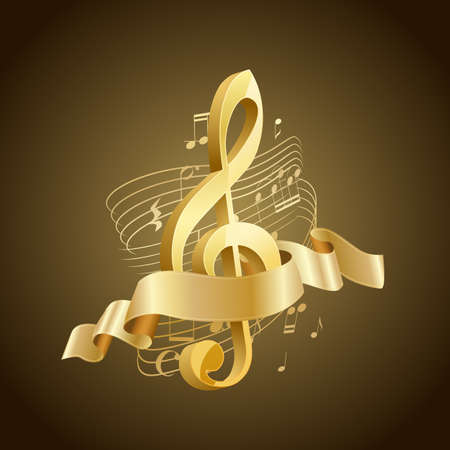 golden musical treble clef with abstract lines and notes, ribbon on brown background