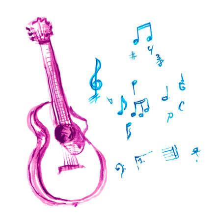 akoestische gitaar gemaakt met aquarel beroertes en muzieknoten Stock Illustratie