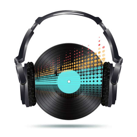 headphones with vinyl disk and equalizer Vector