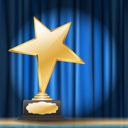 golden star award on blue curtain background