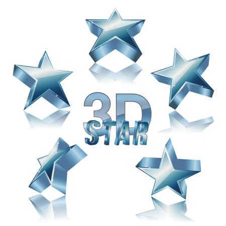 estrella azul: 3d juego de la estrella azul con la reflexi�n