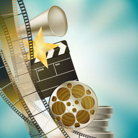 cinema strip: cinema blue background with retro filmstrip, clapper and stars left vertical border Illustration