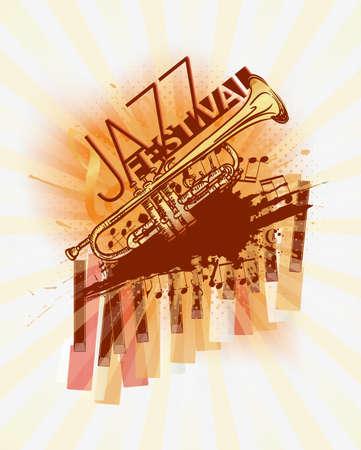 jazz modern: Jazz trumpet music festival background template Illustration