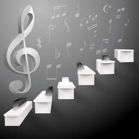 orquesta clasica: crecer negro piano y escaleras blancas y g clave y notas musicales Vectores