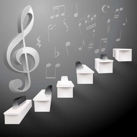 fortepian: dorastają fortepianowej czerni i bieli schodach i klucz G i nuty Ilustracja