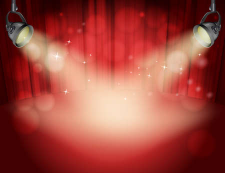 spot lights: red curtain background with light yellow spot lights