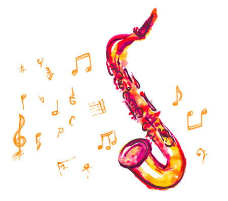 band instruments: saxophone made with watercolor brush strokes and musical notes