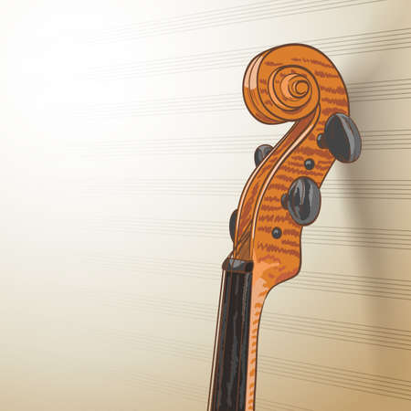 conservatory: violin neck on musical lines background