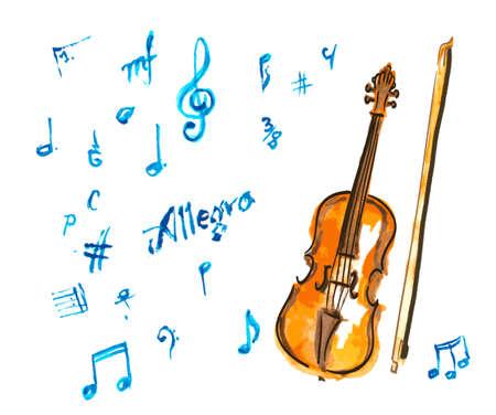 chiave di violino: mano Acquerello violino disegnato e note musicali