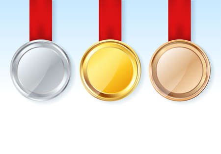 gold silver: set of medals with red ribbons and stars