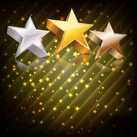 famous actress: Golden, silver and bronze stars on abstract dark background. vector Illustration