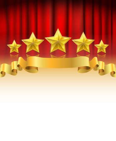 red stage curtain: red curtain with golden stars and a ribbon background with white space