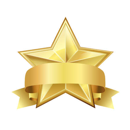 category: golden star with ribbon on white