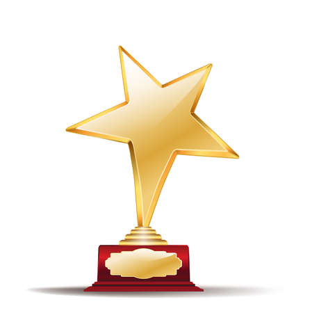 achievement clip art: golden star award on white Illustration